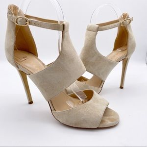 M.Gemi Cut Out Peep Toe Suede High Heels Cream